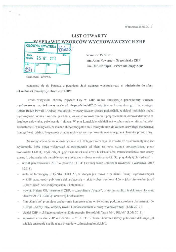 List otwarty koalicji DLA RODZINY do władz ZHP